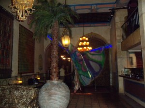 A performer on stilts beckons guests into the Moroccan-influenced lobby of the Figueroa Hotel. Copyright 2012 Donna Schwartz Mills